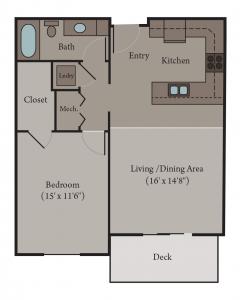 Milan Floor Plan | 1 Bedroom 1 Bath