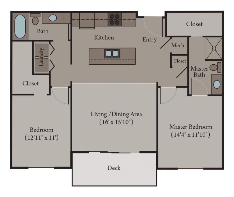 Naples Floor Plan | 2 Bedroom 2 Bath