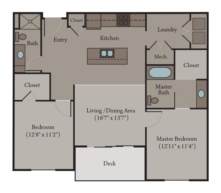Venice Accessible Floor Plan | 2 Bedroom 2 Bath