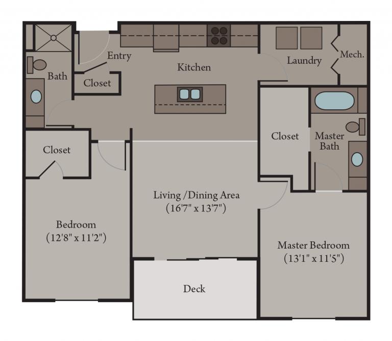 Venice Floor Plan | 2 Bedroom 2 Bath