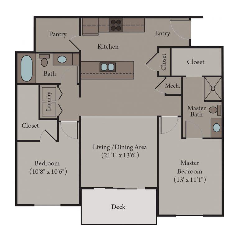 Siena Floor Plan | 2 Bedroom 2 Bath