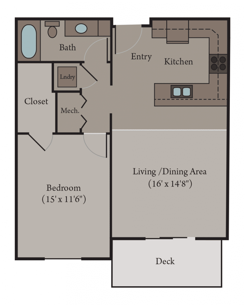 1 Bedroom 1 Bath Apartment Floor Plan   Milan