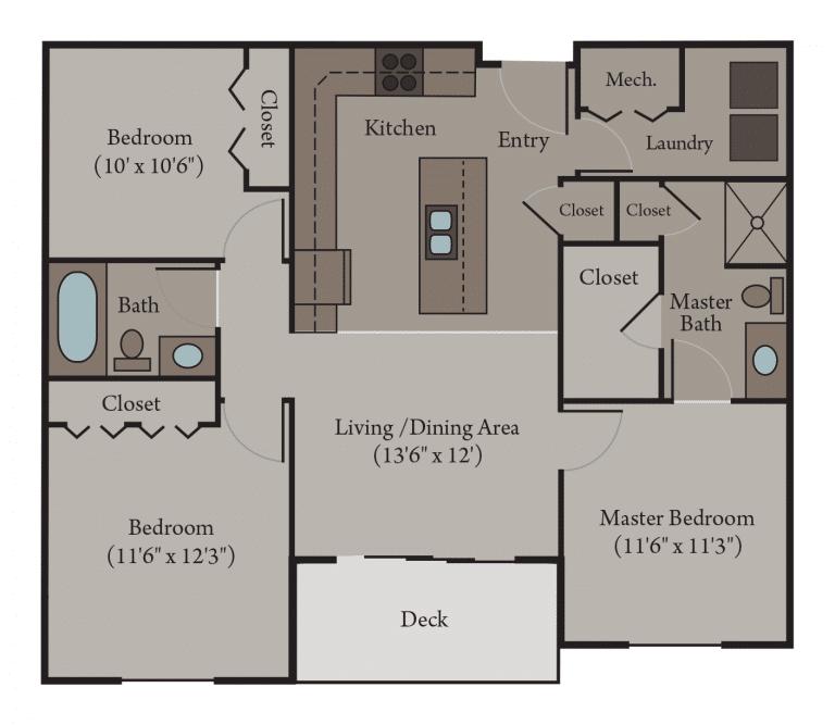 3 Bedroom 2 Bath Apartment Floor Plan | Pisa