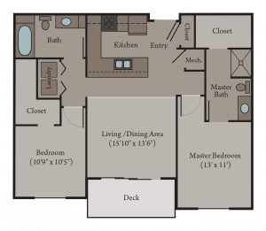 2 Bedroom 2 Bath Apartment Floor Plan | Turin