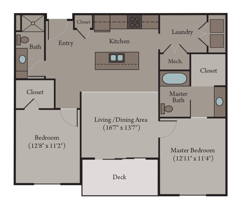 2 Bedroom 2 Bath Apartment Floor Plan | Venice Accessible