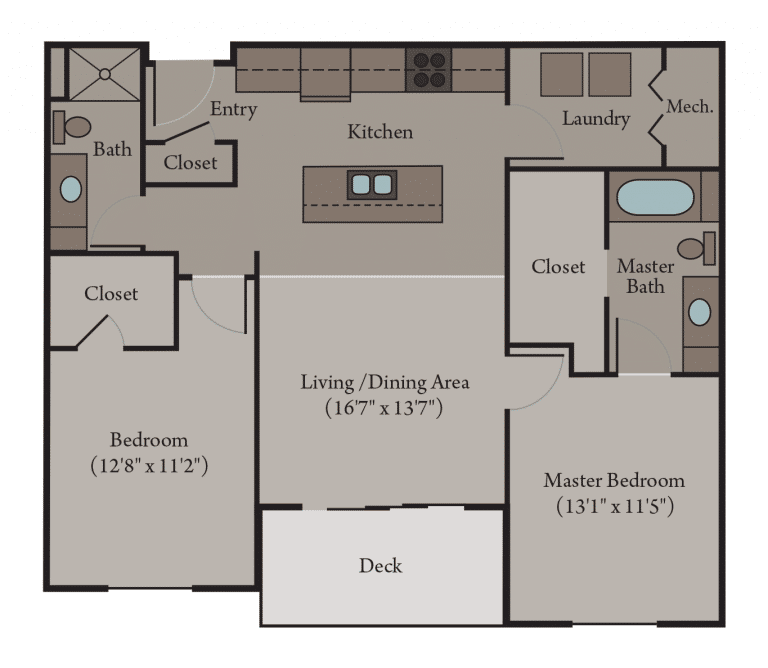 2 Bedroom 2 Bath Apartment Floor Plan | Venice