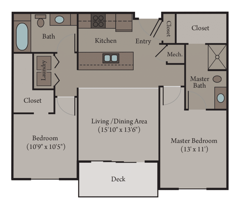 2 Bedroom 2 Bathroom | Turin Floor Plan